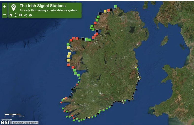Map of Ireland showing Napoleonic Signal Stations | Earthstar Geographics